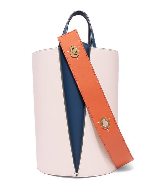 Lorna Mini Color-Block Leather Bucket Bag