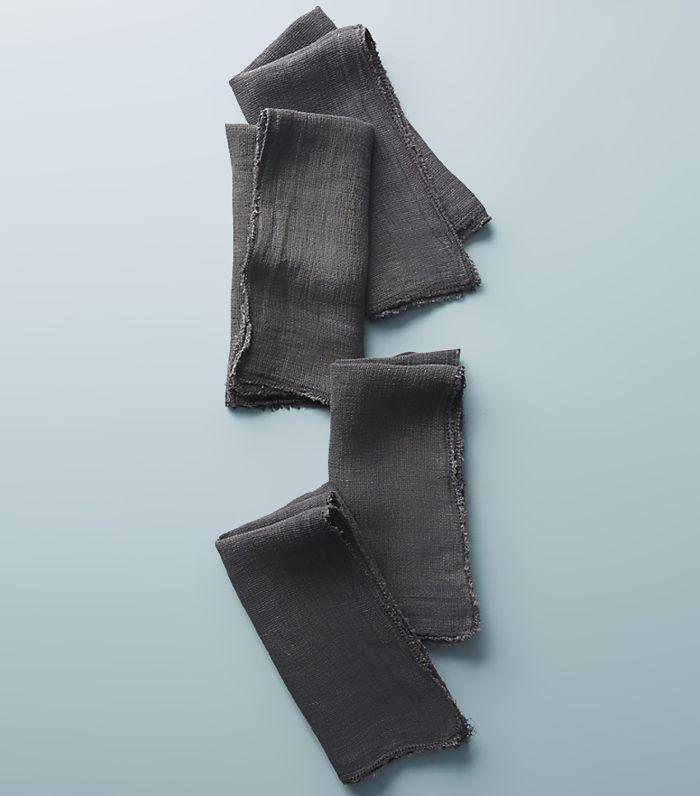Anthropologie Frayed Linen Napkins, Set of 4