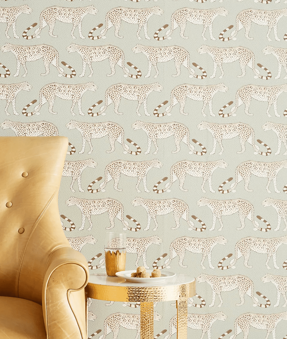 Anthropologie wallpaper with leopards on it