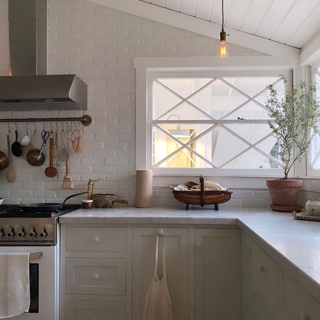 Kitchen with slanted ceiling
