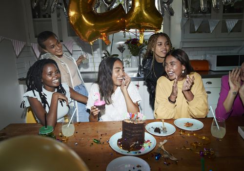 Young women celebrating 21st birthday party