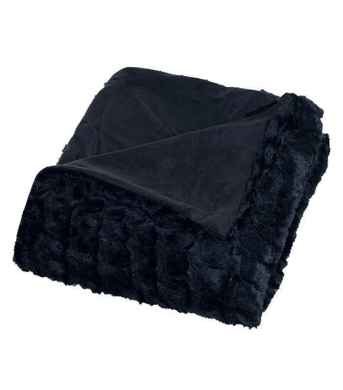 Plush Croc Embossed Faux Fur Mink Throw Blanket, Black