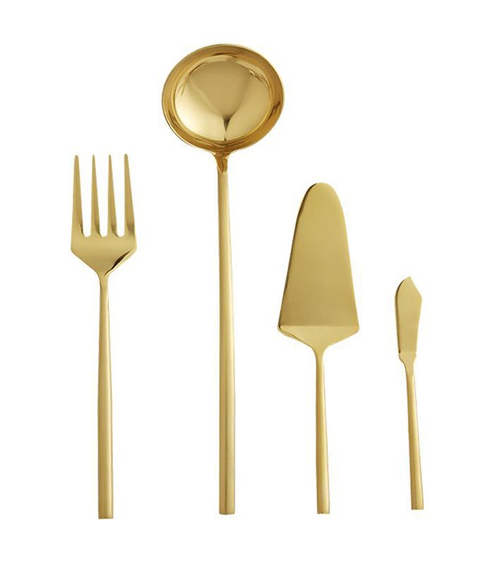 4-Piece Rush Gold Serving Utensil Set