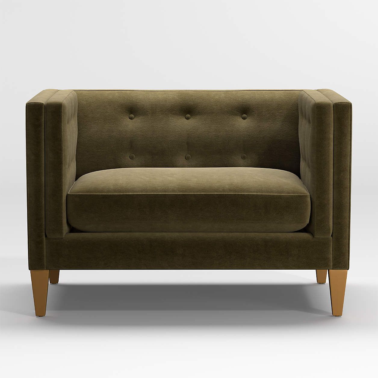 An olive green tufted chair and a half, currently for sale at Crate & Barrel