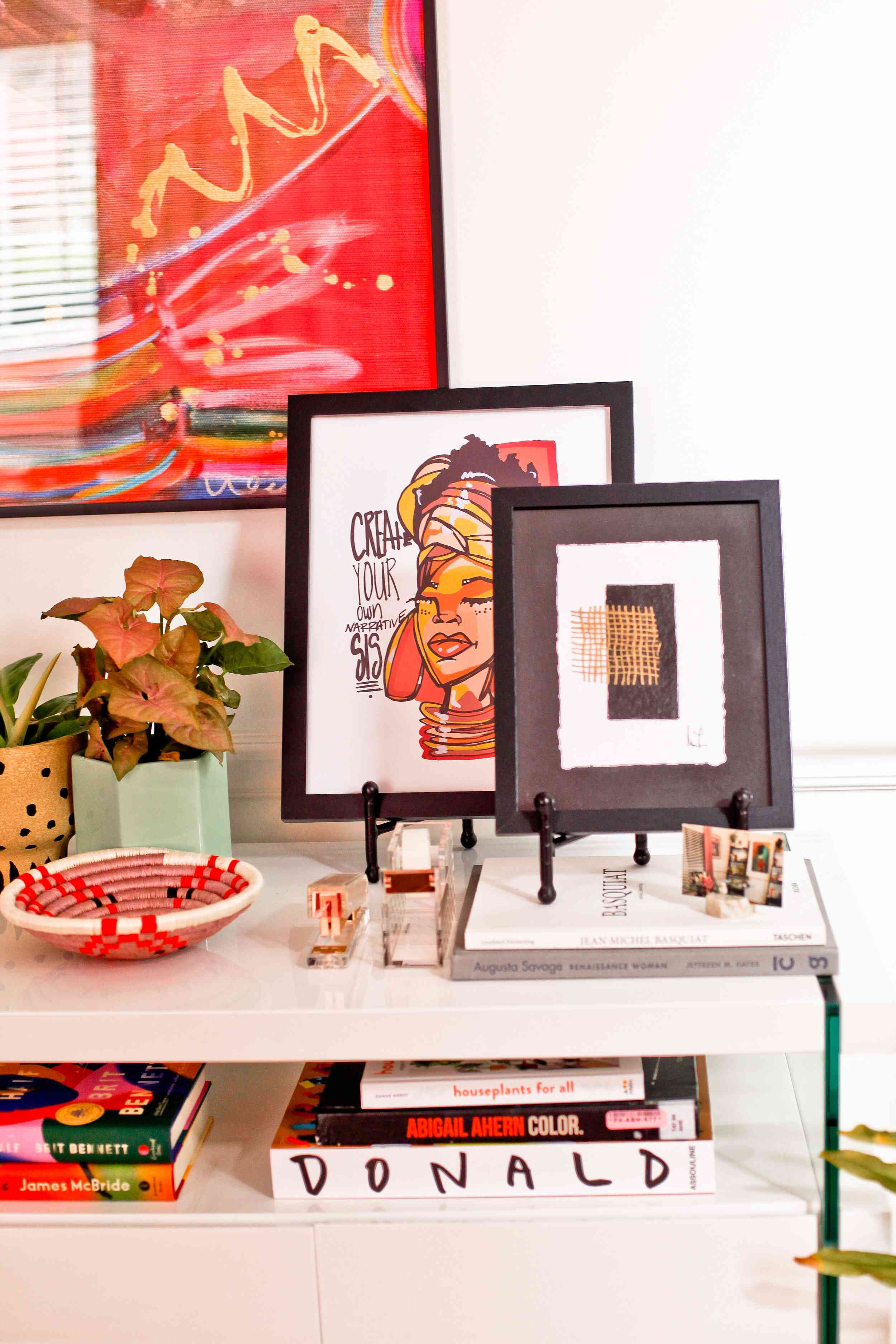 Artwork in home office that incorporates poppy red.