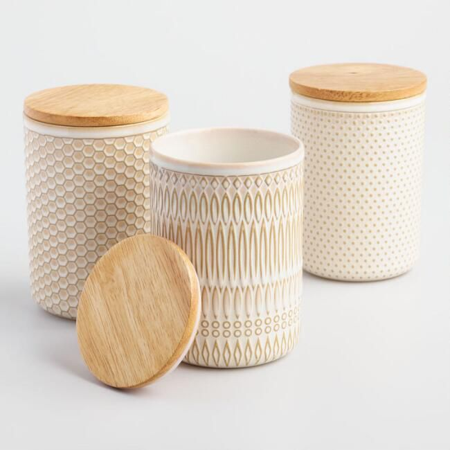 Textured Ceramic Storage Canisters—Cheap room decor