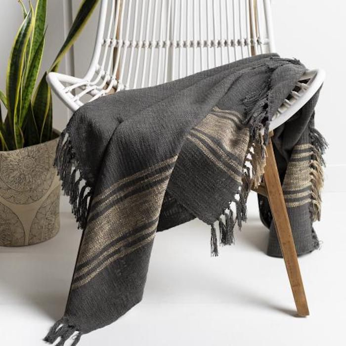 A charcoal throw blanket
