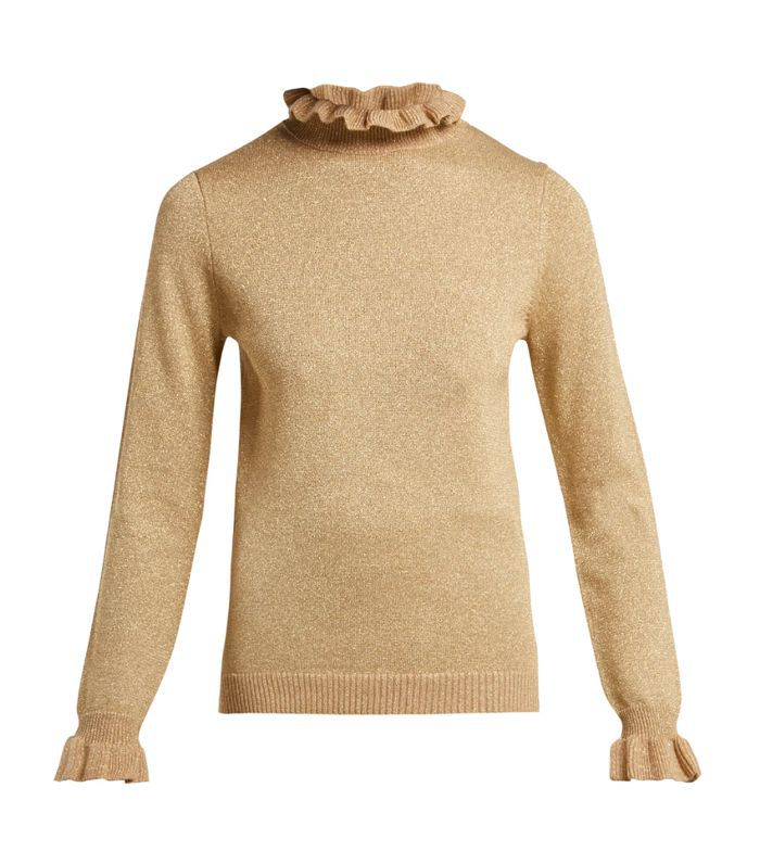 Robin metallic wool-blend roll-neck sweater