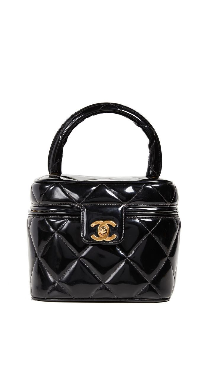 Chanel Black Patent CC Vanity Case