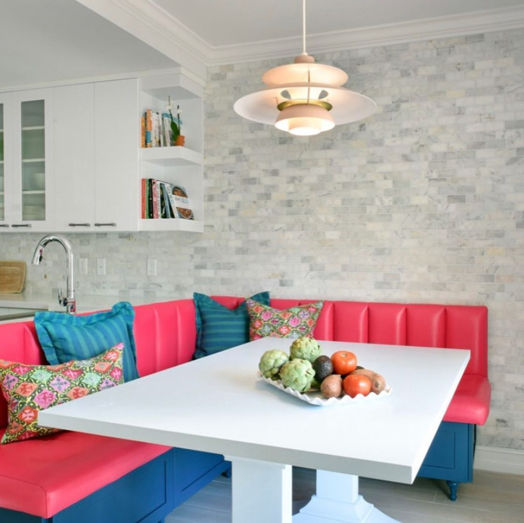 Hot pink and blue breakfast nook