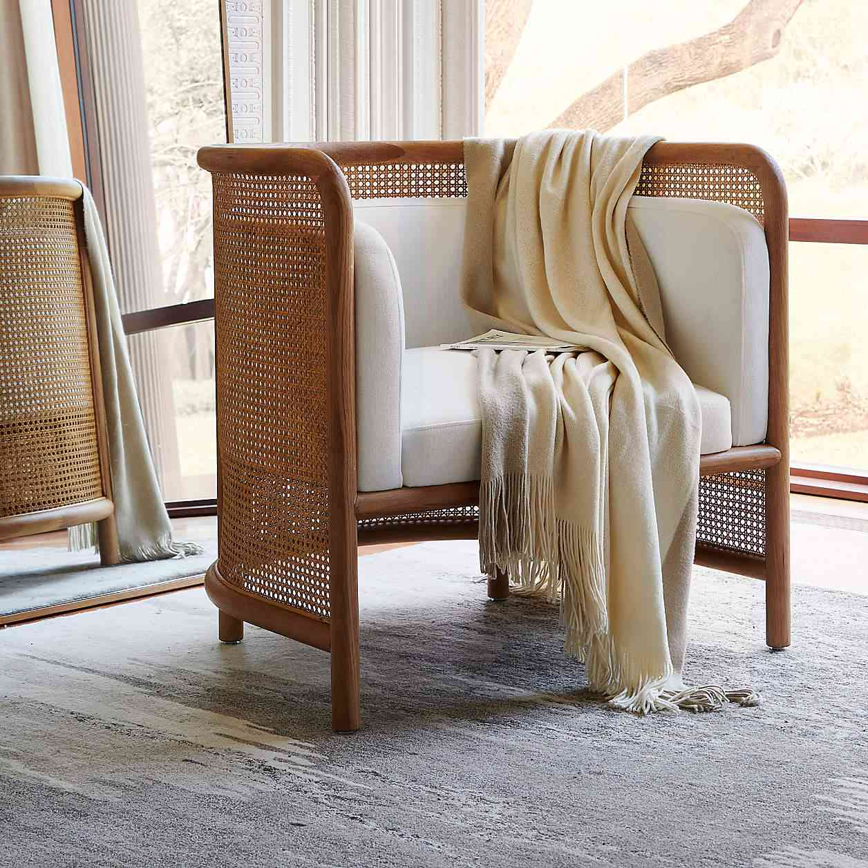 Crate & Barrel Fields Cane Accent Chair