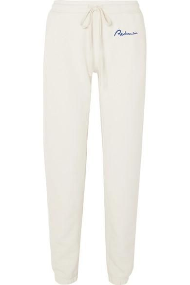 Embroidered Cotton-terry Track Pants