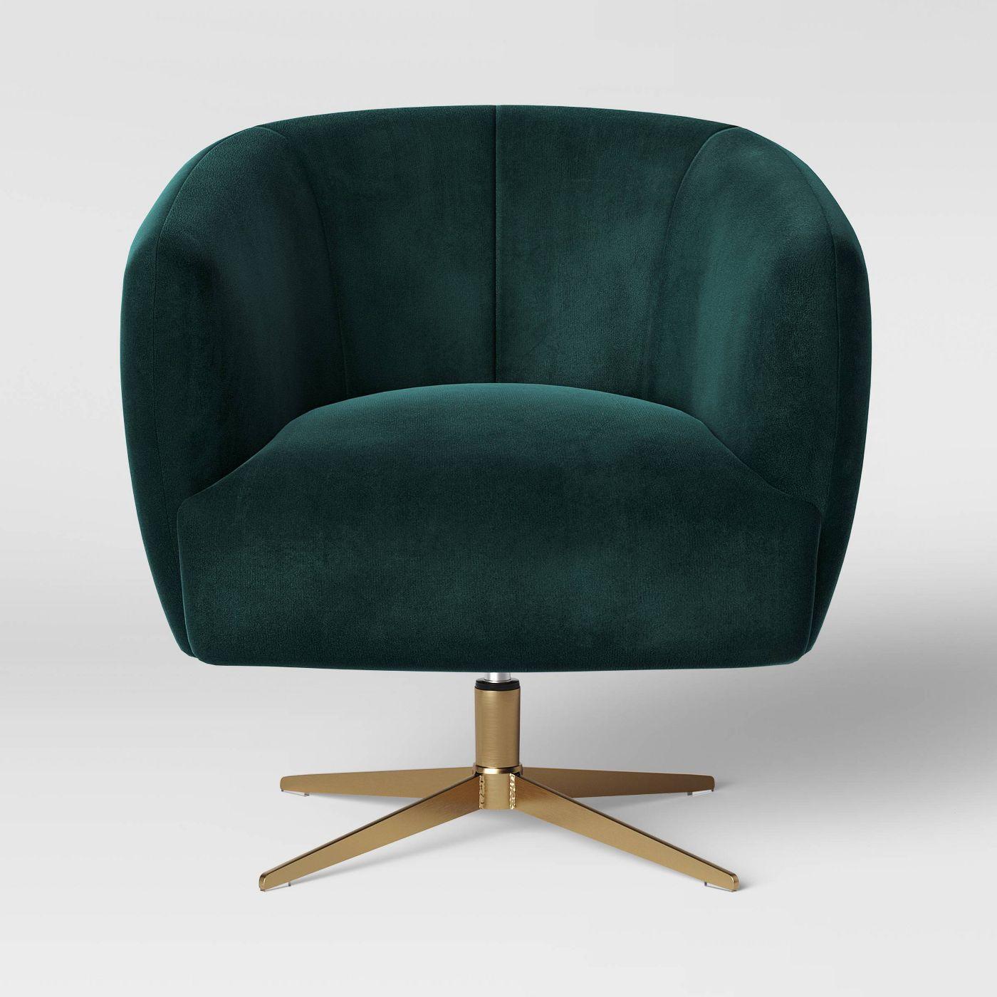 Morpho Swivel Velvet Arm Chair