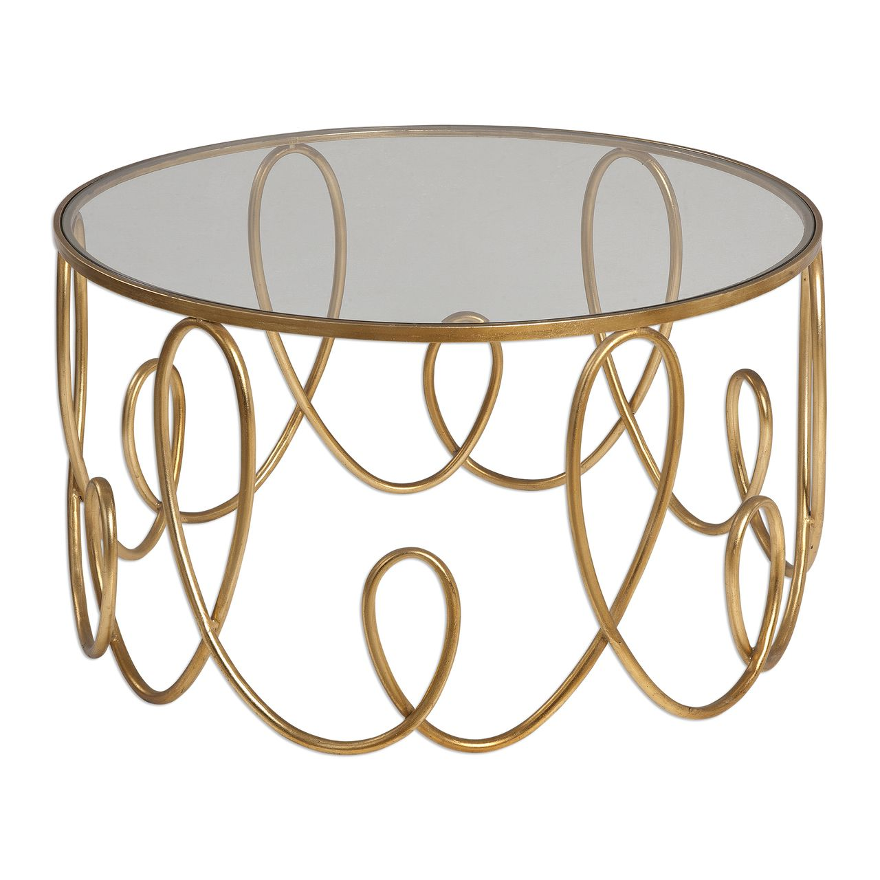Coffee table with squiggly gold base and glass top.
