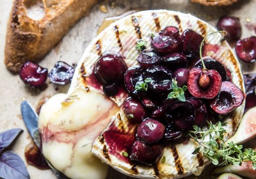 Brie with cherry jam.