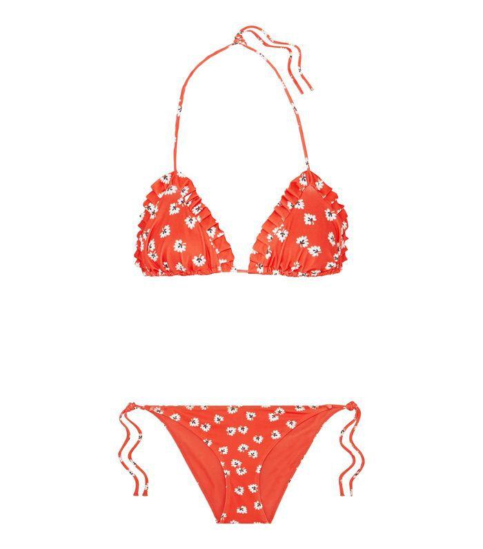 Columbine Ruffled Printed Triangle Bikini