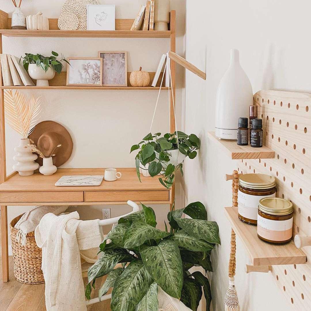 Desk with vertical storage