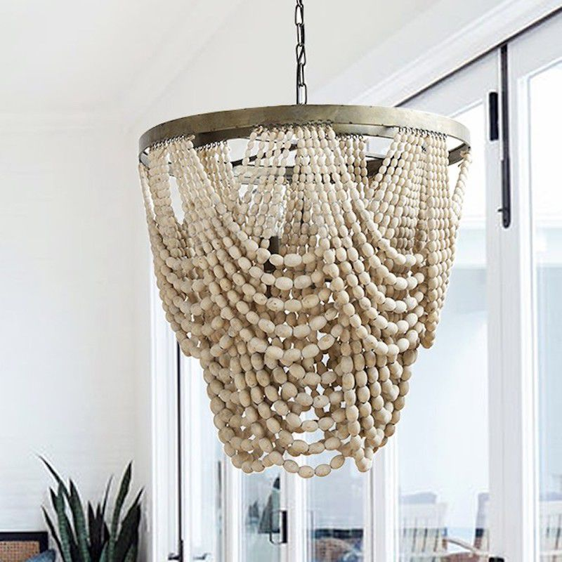 A wooden bead chandelier, currently for sale at Antique Farmhouse