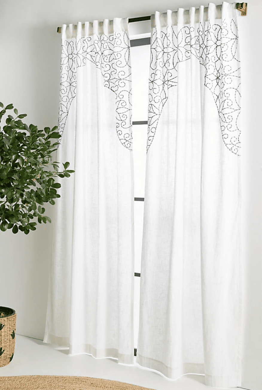 Anthropologie Embroidered Betina Curtain