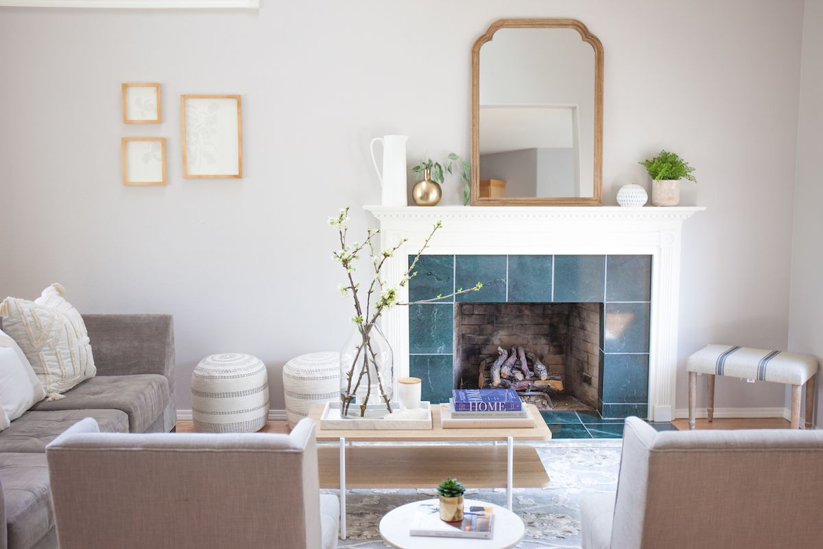 Living room with blue fireplace