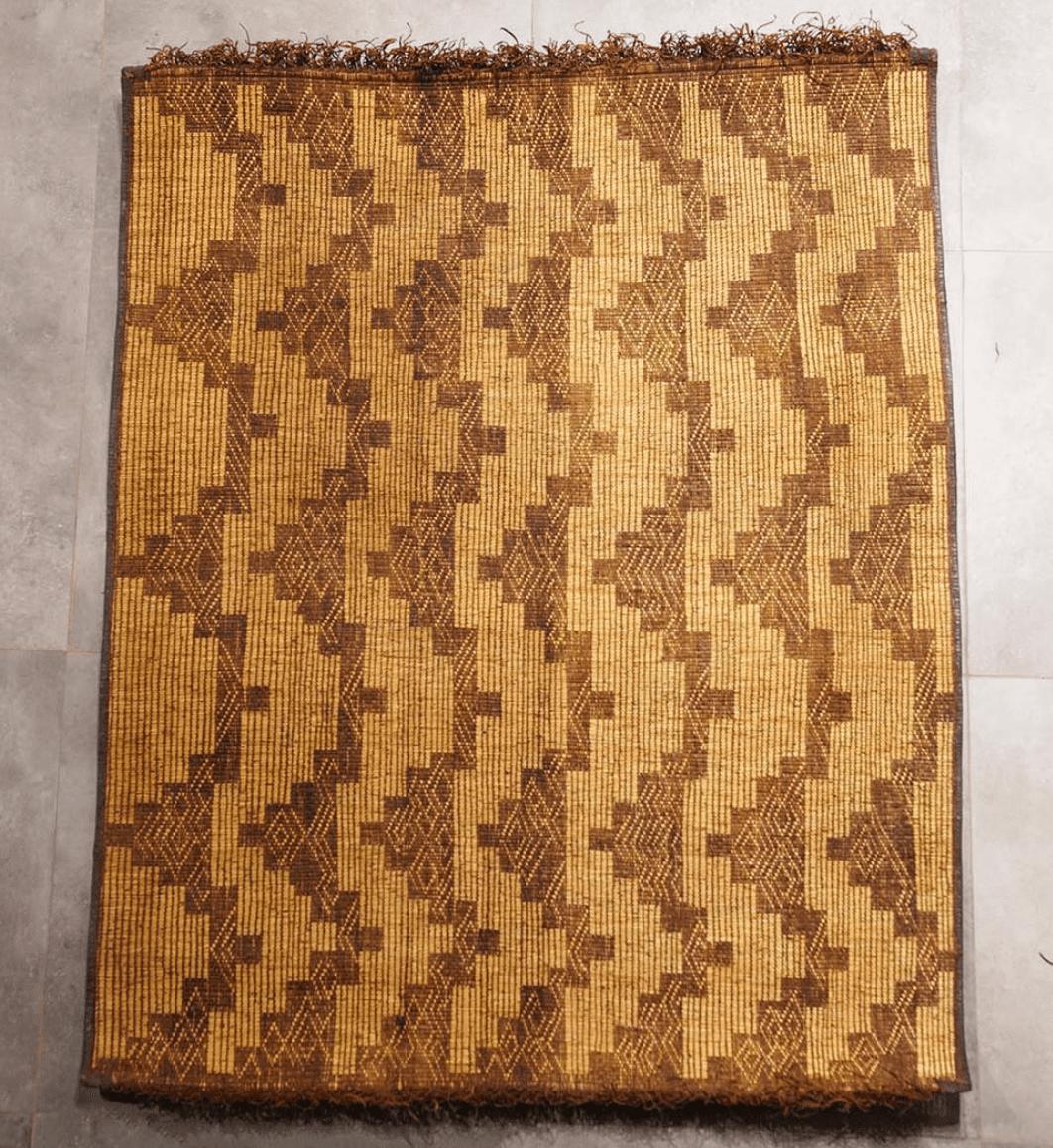 Vintage Tuareg Mat 4.65ft x 3.77ft - Moroccan Vintage Reed Mats - Masina