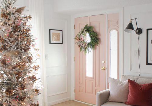 Pink-themed Christmas decor