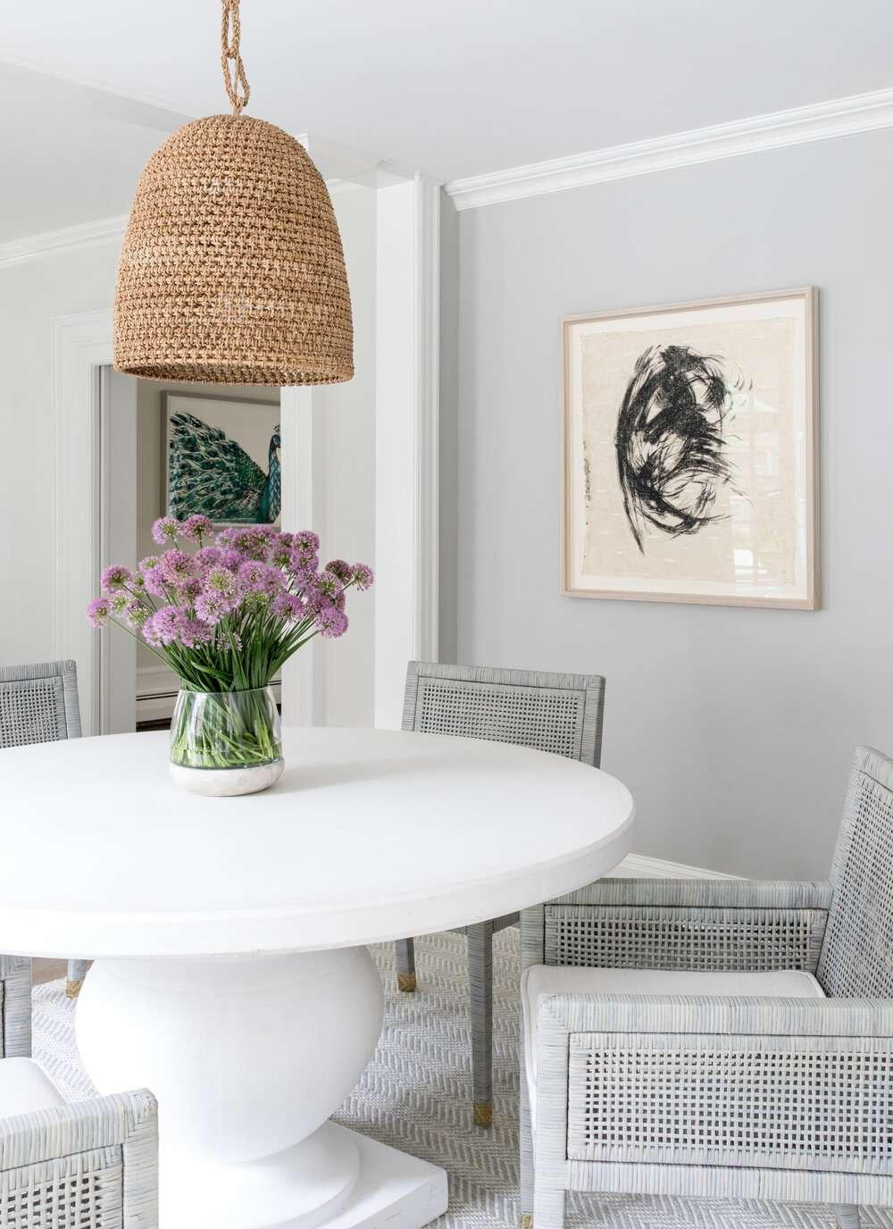 light gray dining area