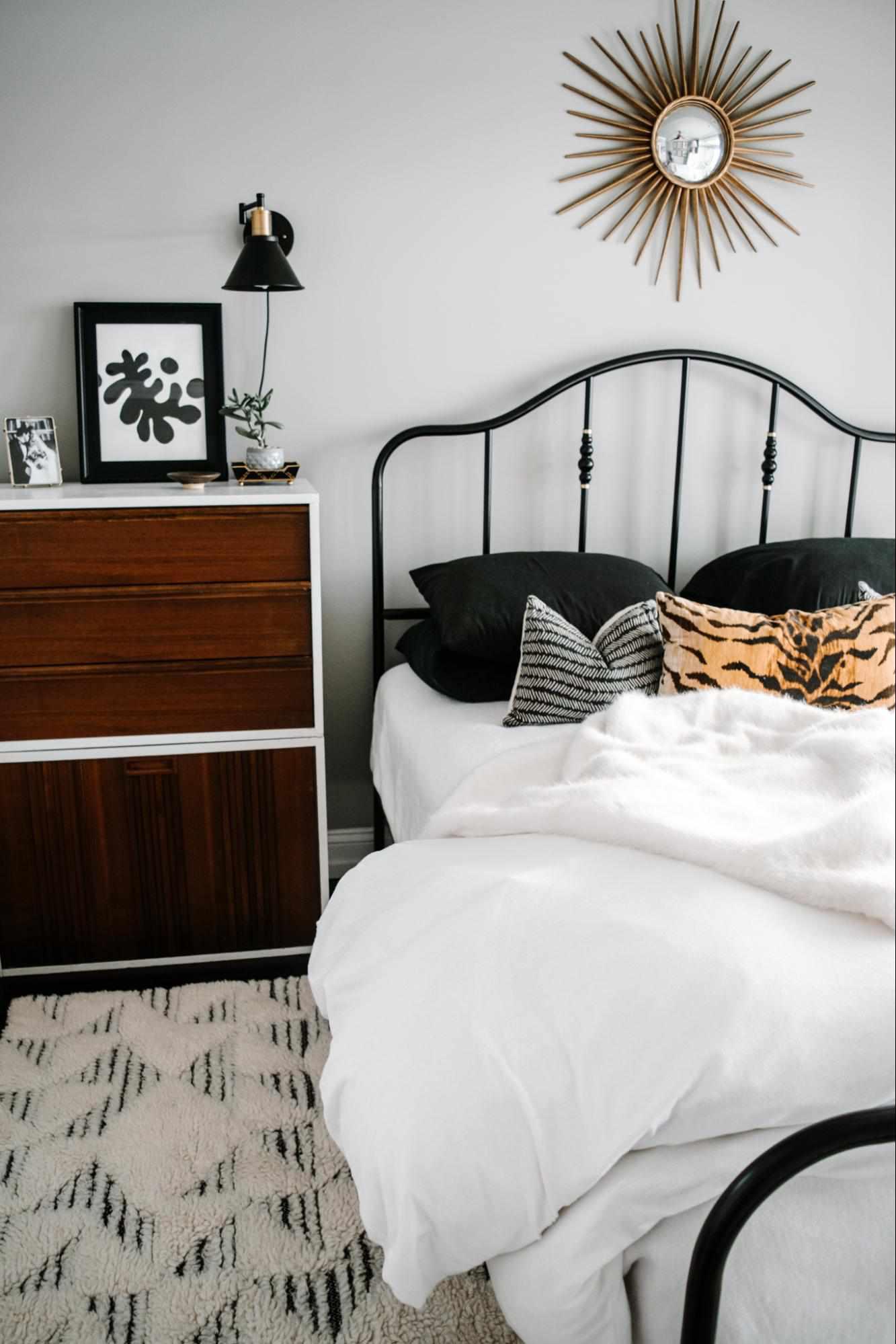 Winter bedding with heavier comforter.