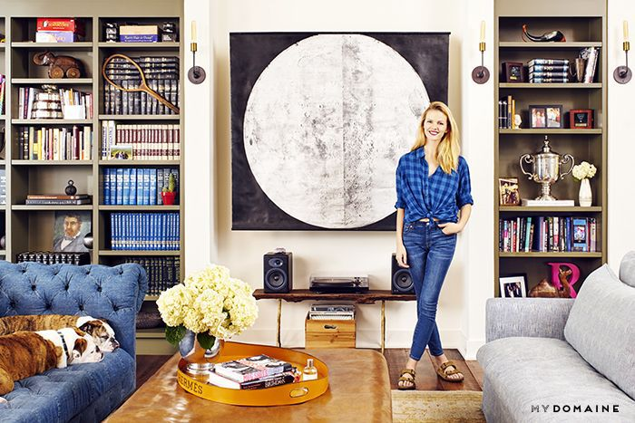 Brooklyn Decker in her living room