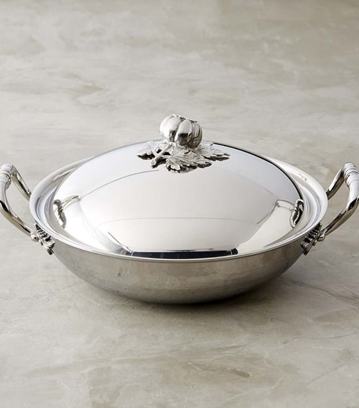 Ruffoni Stainless-Steel Wok with Tomato Finial