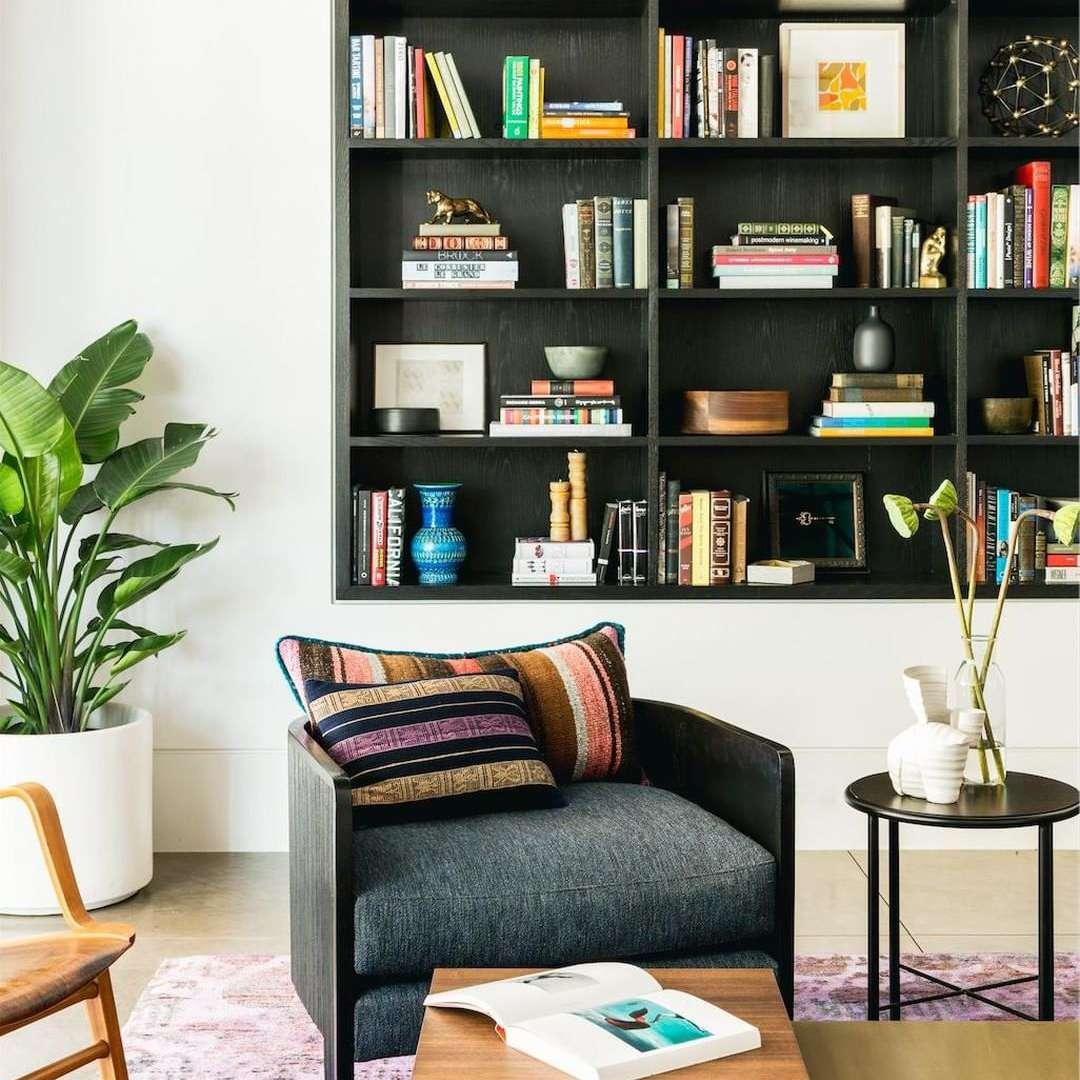 Black built-in bookcase