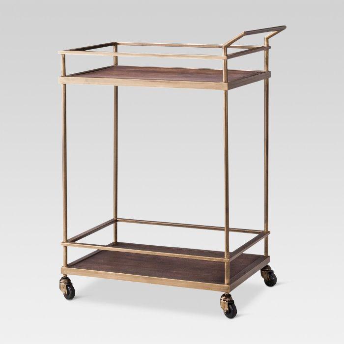 Threshold Wood and Brass Bar Cart
