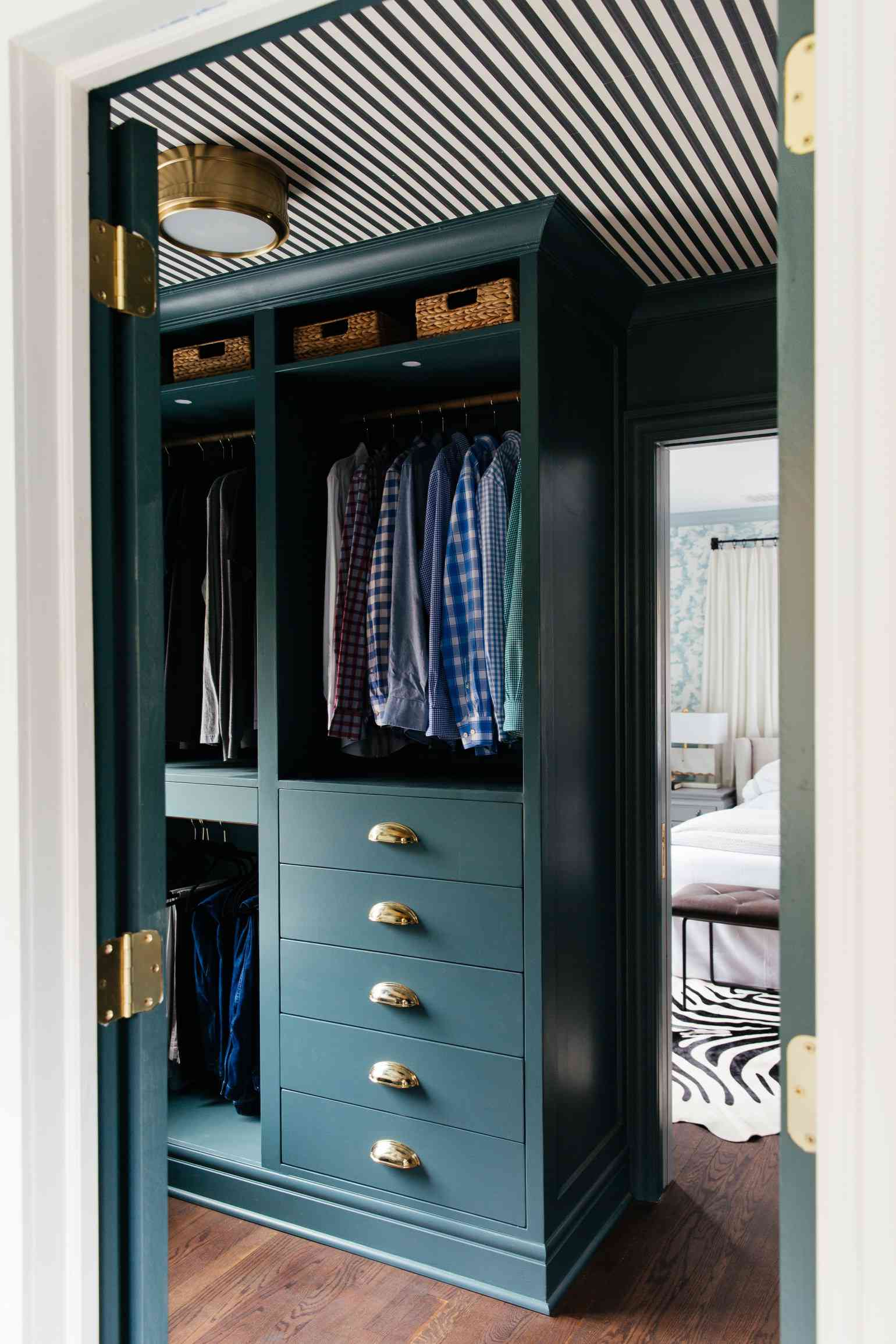 A customized IKEA closet that's been painted blue