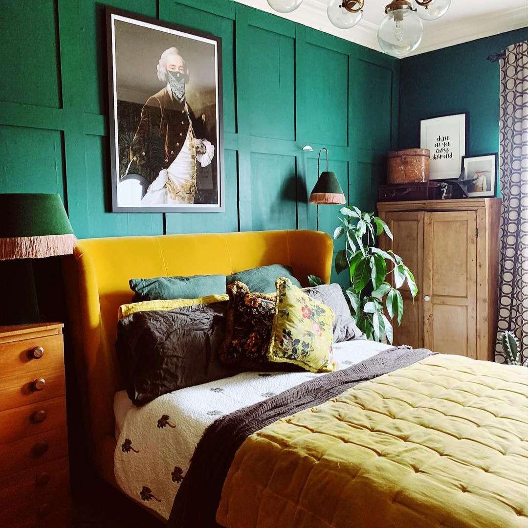 Yellow and jewel-tone bedroom