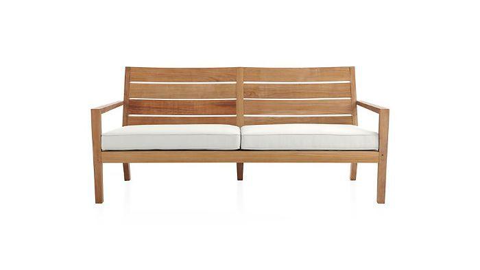 Crate and Barrel Regatta Natural Sofa With Sunbrella Cushion
