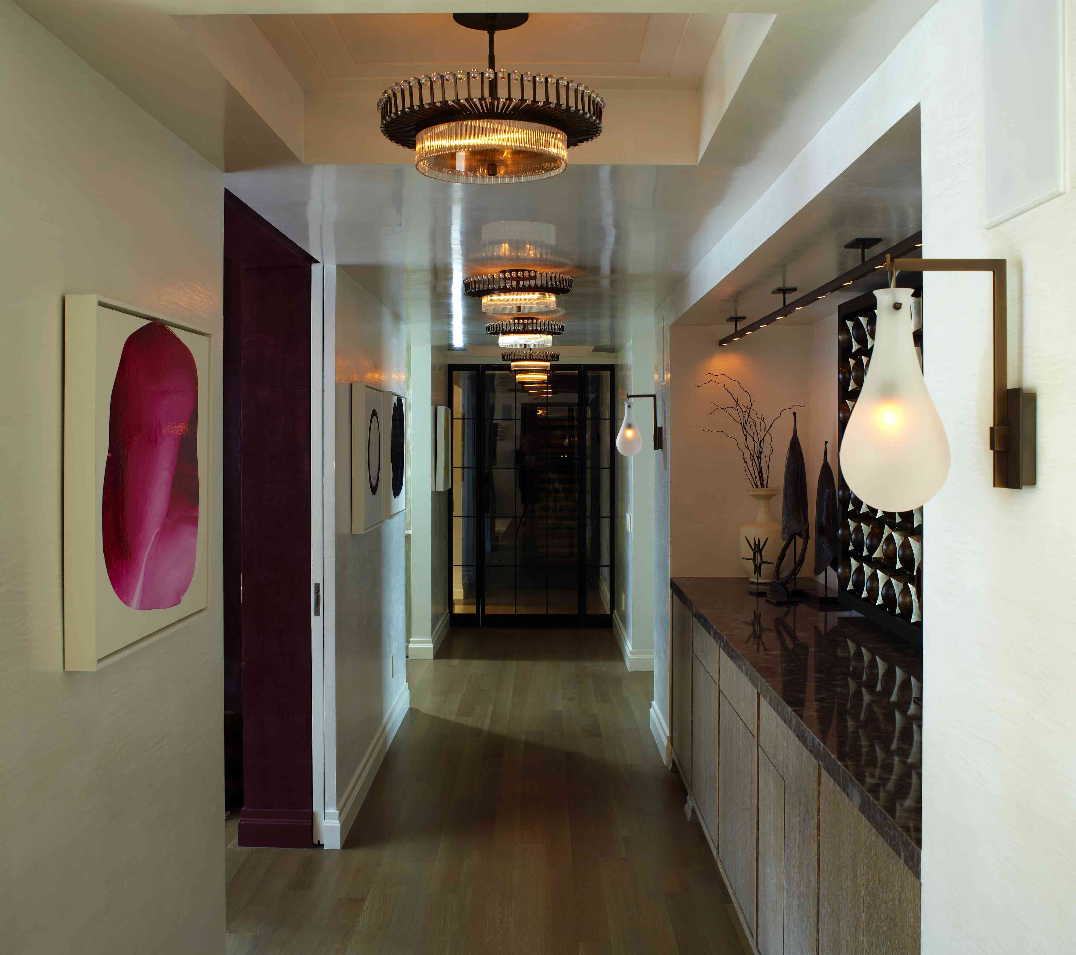Elegant hallway and lighting.