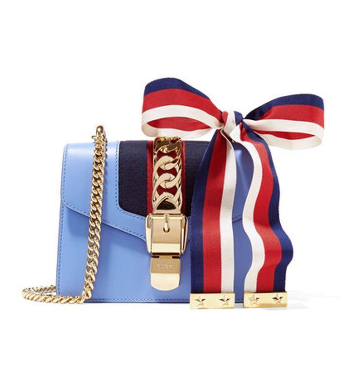 Sylvie Mini Chain-embellished Leather Shoulder Bag