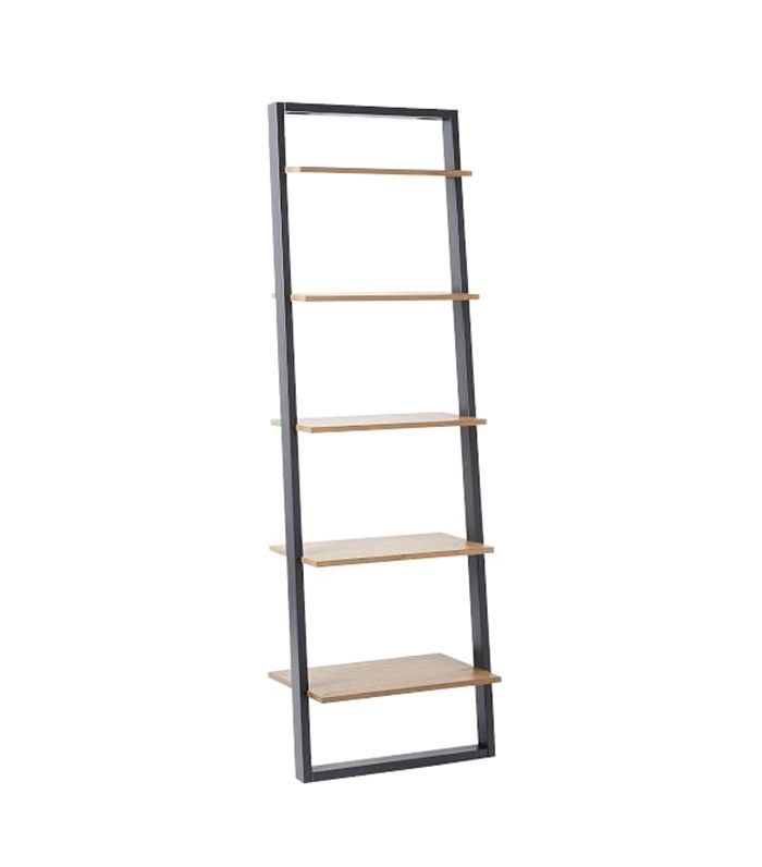 Ladder Shelf Leaning Wall Storage Wide Shelf - White Lacquer/Espresso