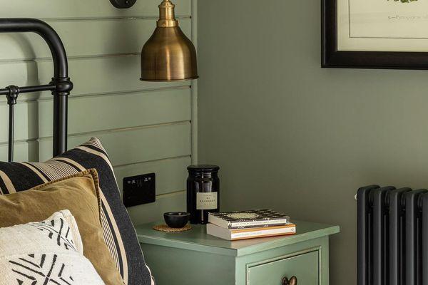 Green farmhouse bedroom