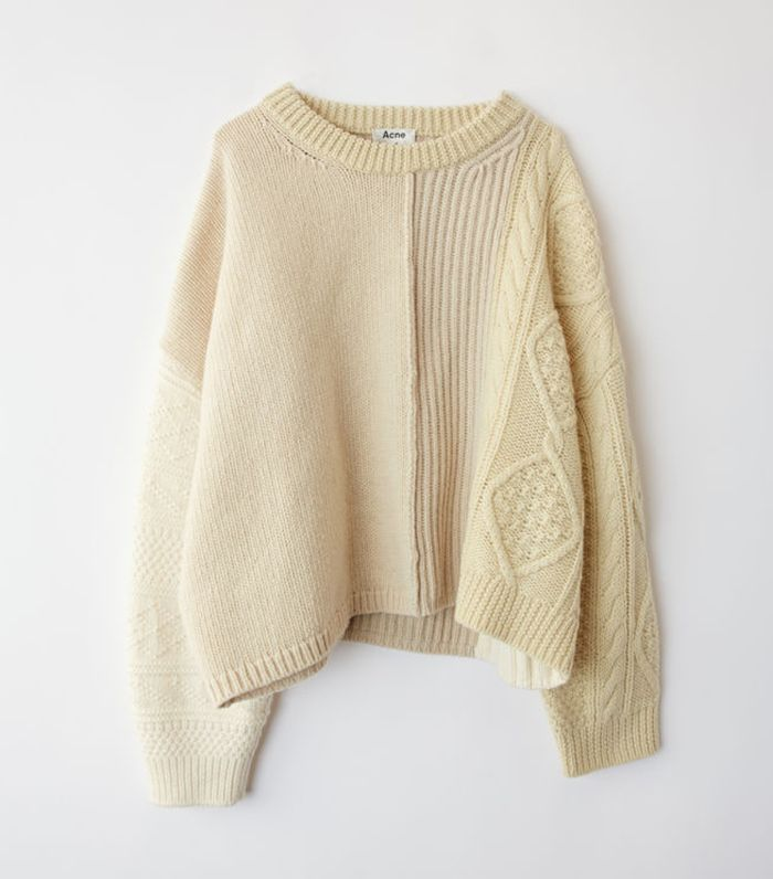 - Patchwork Cable Knit Wool Sweater - Womens - Cream