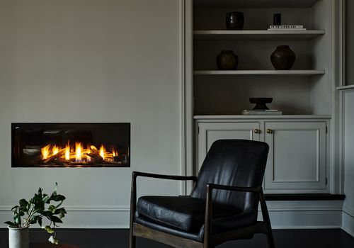 Modern-traditional living room with built-in fireplace
