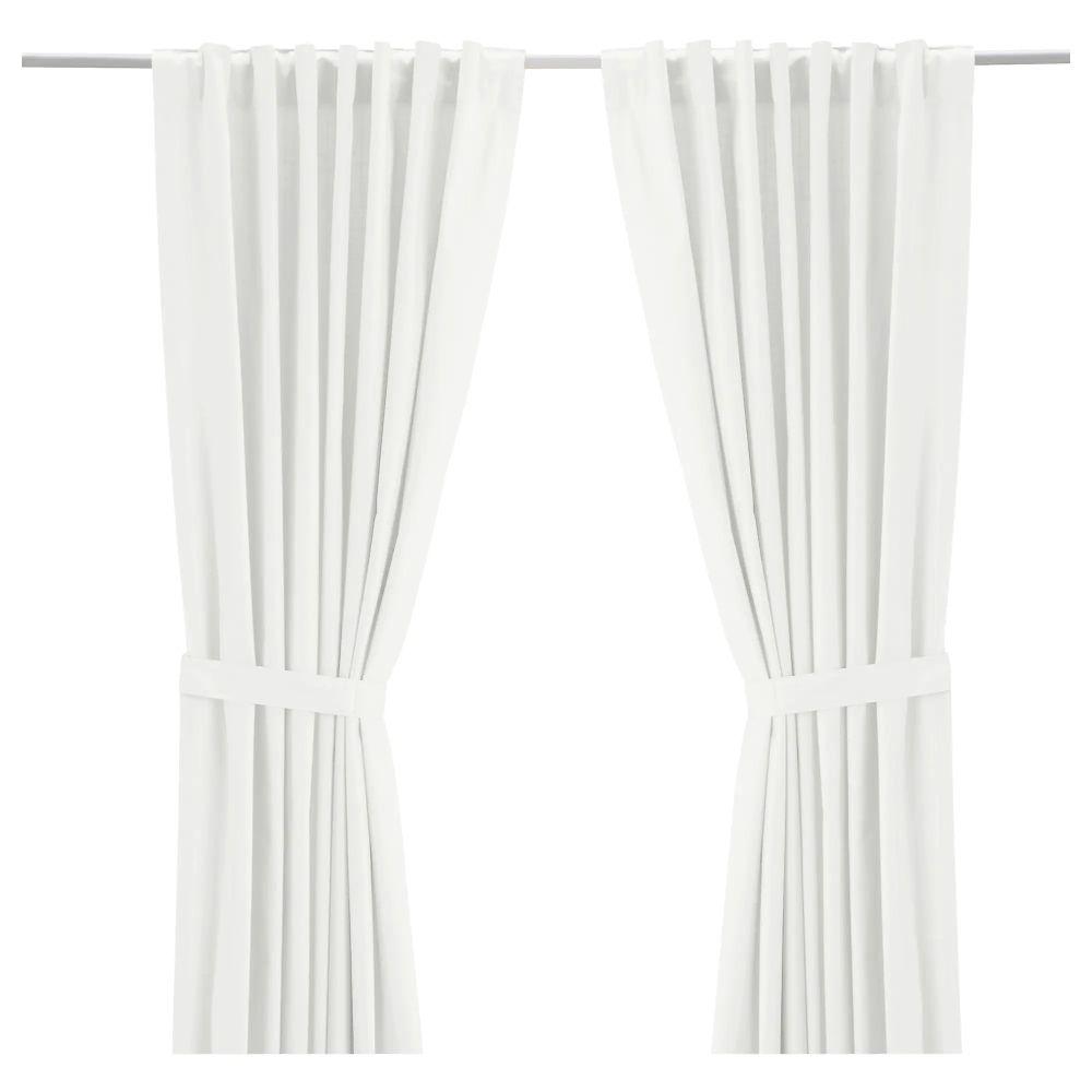 White curtains with tiebacks