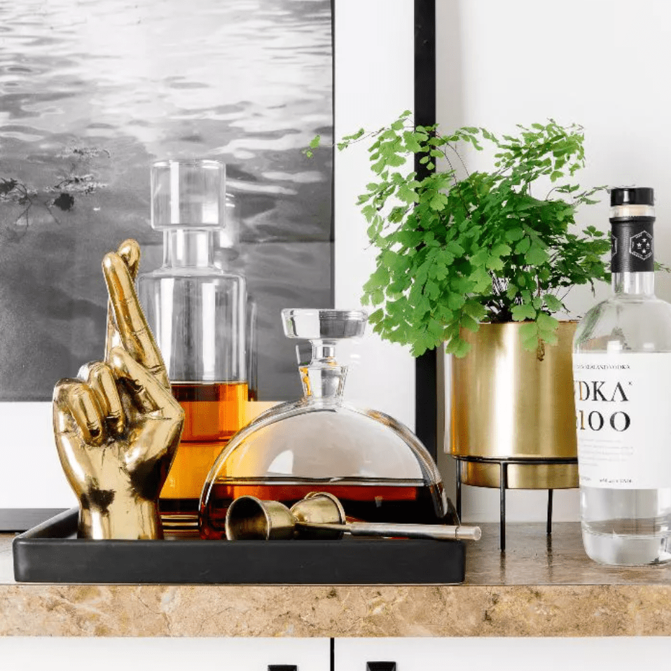 Bar cabinet with tray of liquor bottles and potted plant