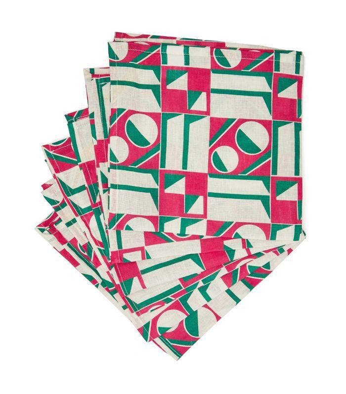 Geometric-print linen napkin set