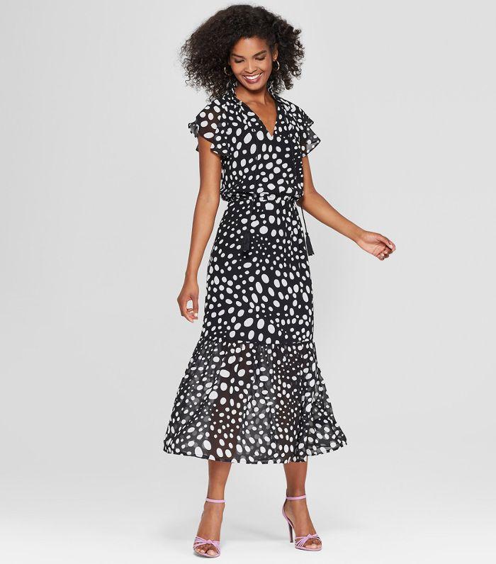 Women's Short Flutter Sleeve Midi Dress