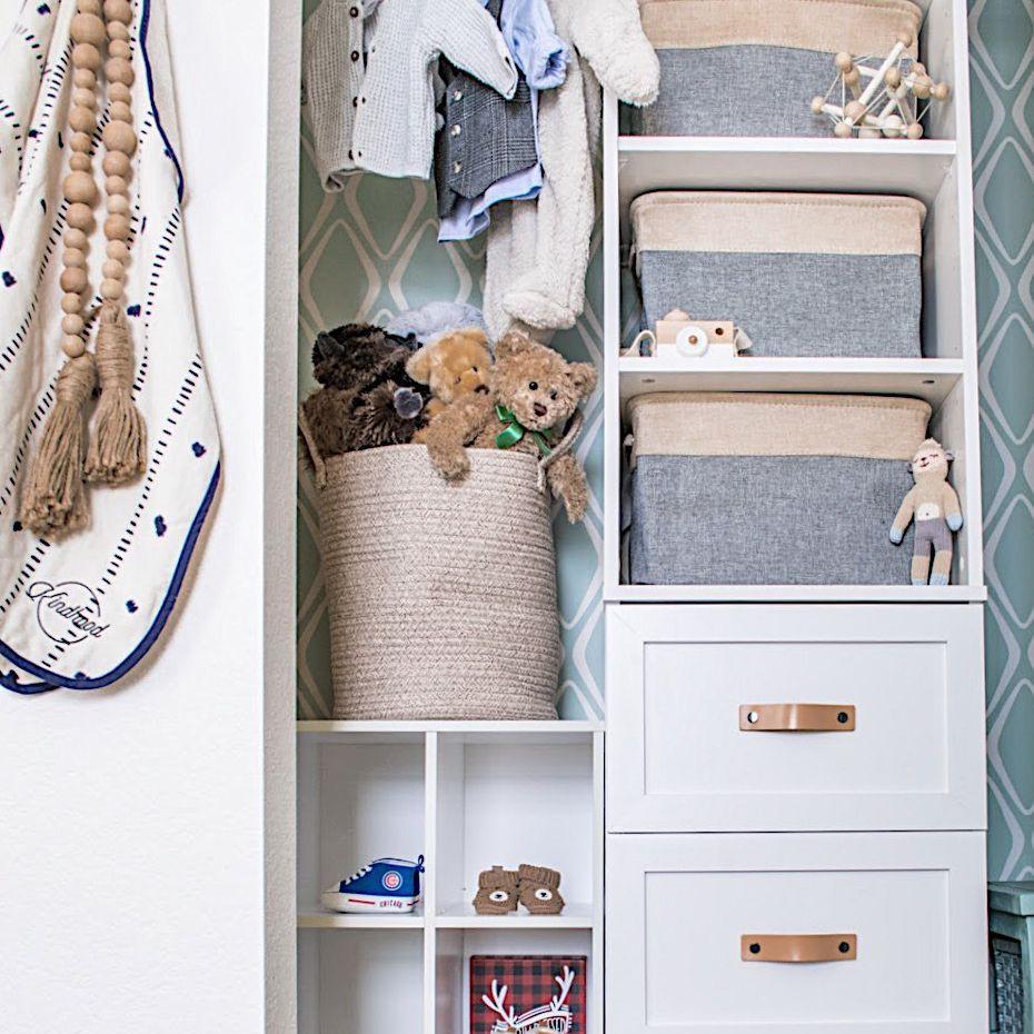 An organized kid's closet