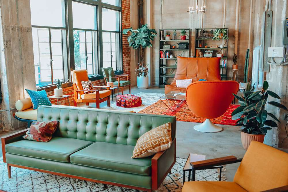 Maximalist living room with colorful furniture
