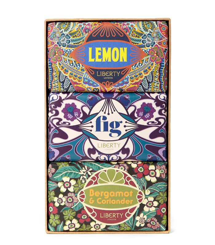 christmas gifts for friends: Liberty London Trio Set of Bergamot, Lemon and Fig Soap