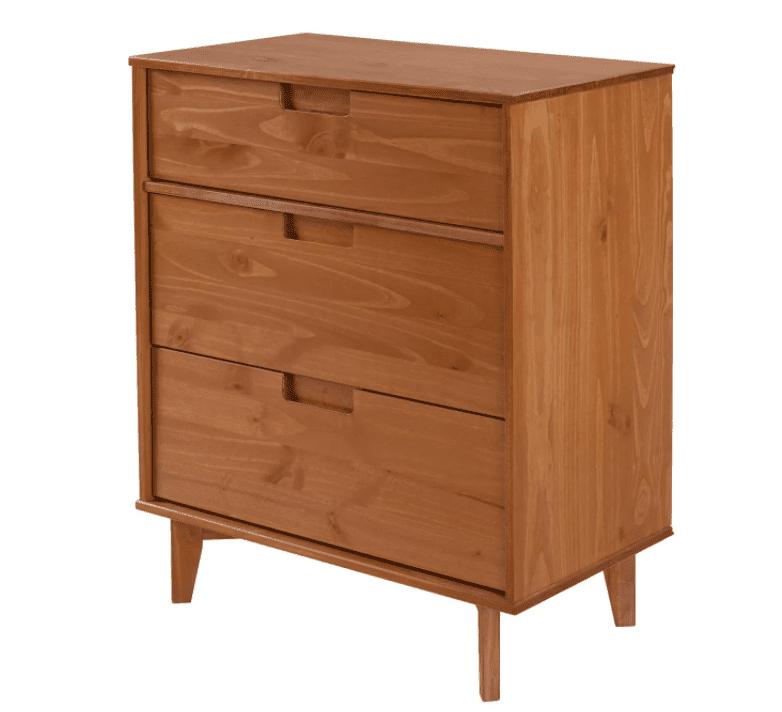 3 Drawer Mid-Century Modern Wood Dresser