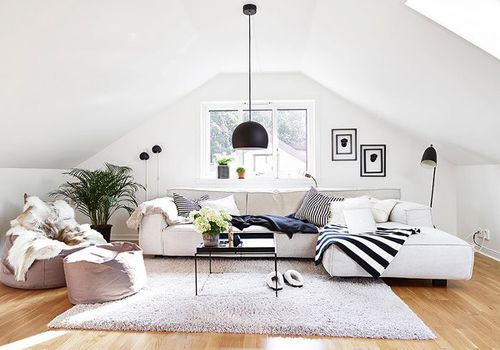 a living room with a bean bag chair